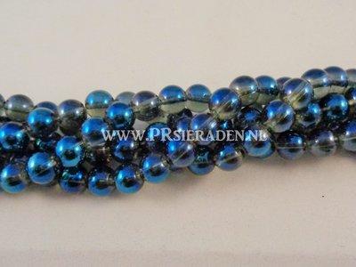 Blauwe/clear electroplated Piezo glaskralen