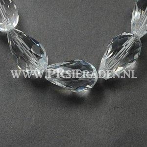 Clear facet druppel glaskraal