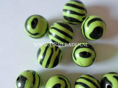 Acryl zebra groene ronde kralen