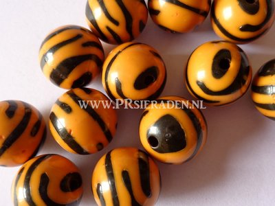 Acryl zebra oranje ronde kralen