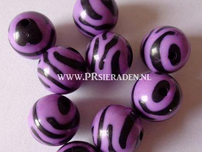 Acryl zebra paarse ronde kralen