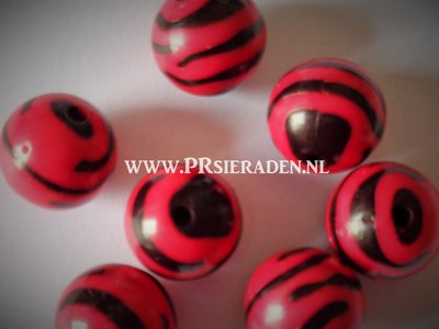 Acryl zebra rode ronde kralen