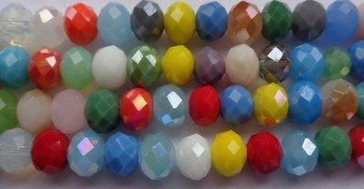 MIX ab color abacus facet glaskralen  5 strengen