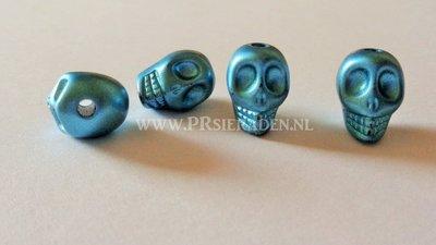Blauw metallic acryl doodshoofd kraal