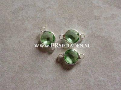 Flat round licht groen tussenzetsel