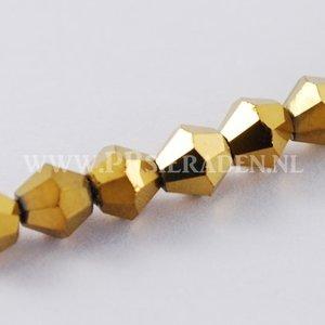 Goud plated bicone facet glaskralen 5 strengen