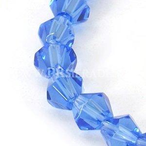 Blauwe bicone facet glaskralen 5 strengen