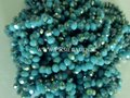 Donker sky blue electroplated abacus facet  glaskralen